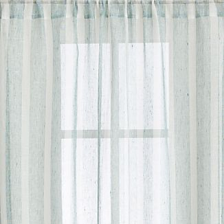 "Teal Linen Stripe 48""x84"" Curtain Panel"