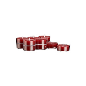 Clear-Cupped Cranberry Tea Lights Set of 12