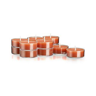 Set of 12 Clear-Cupped Orange Tealight Candles