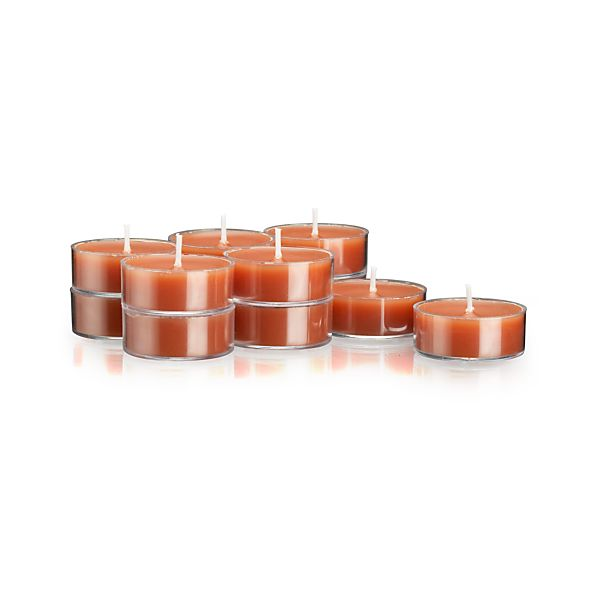Clear-Cupped Orange Tea Lights Set of 12