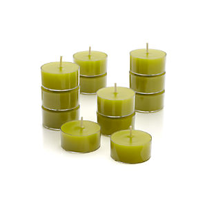 Set of 12 Clear-Cupped Green Tealight Candles
