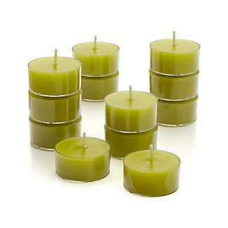 Set of 12 Clear-Cupped Green Tea Lights