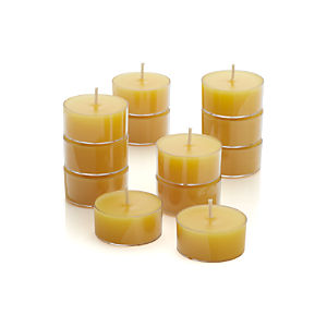Set of 12 Clear-Cupped Yellow Tealight Candles