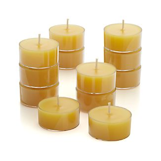 Clear-Cupped Yellow Tealight Candles Set of Twelve