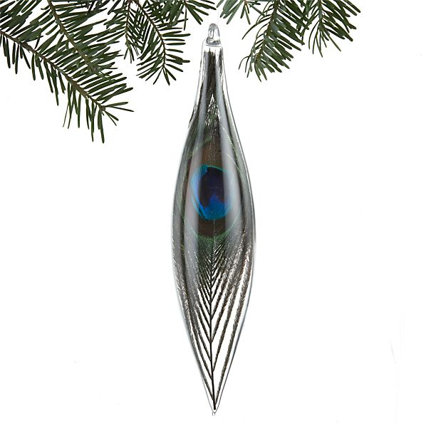 Teardrop Ornament Long with Peacock Feather