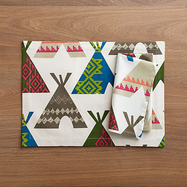 Teepee Placemat and Teepee Napkin