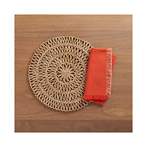 Tempe Placemat and Aspen Orange Napkin