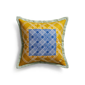 "Tessa Blue 20"" Pillow with Down-Alternative Insert"