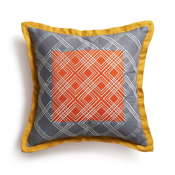 "Tessa Orange 20"" Pillow with Feather Insert"