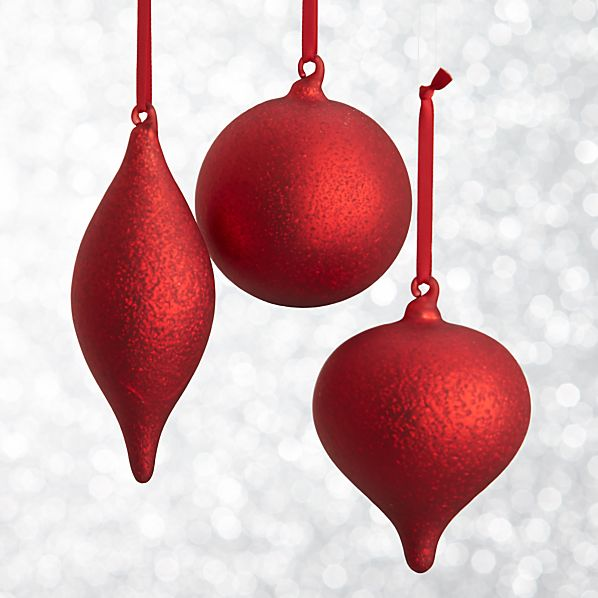 Red Textured Ornaments