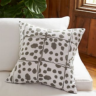 "Tiger Block Printed 23"" Pillow with Down-Alternative Insert"