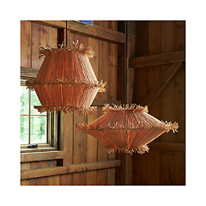 Tiger Raffia Short and Tall Pendant Lights
