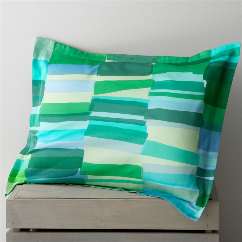 "Tilkkula (""scrap"") overlaps artfully irregular rectangles in a sea-inspired palette, designed by Erja Hirvi in 2006. Ultra-soft 300-thread-count cotton sateen sham has a 1"" flange and generous overlapping flap closure on the back. Bed pillows also available.<br /><br /><strong>Limited-time offer ends February 20, 2013.</strong><br /><br /><NEWTAG/><ul><li>Pattern designed by Erja Hirvi; 2006</li><li>100% cotton sateen</li><li>300-thread-count</li><li>Machine wash cold, tumble dry</li><li>Made in Pakistan</li></ul>"