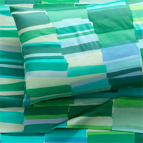 Marimekko Tilkkula Seaglass Twin Extra Long Sheet Set in Sheet ...