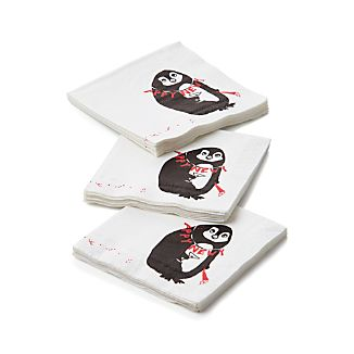 Set of 20 Tipsy Penguin Beverage Napkin