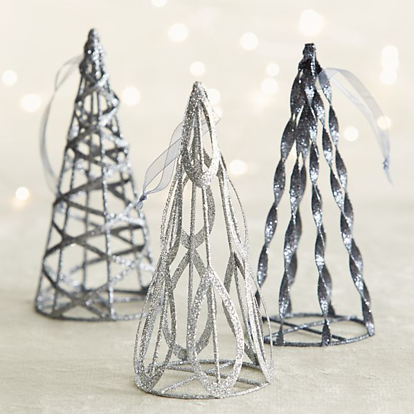 Glitter Cone Tree Ornaments