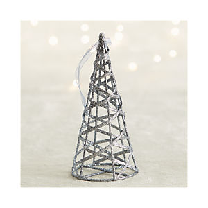Dark Silver Glitter Cone Tree Ornament
