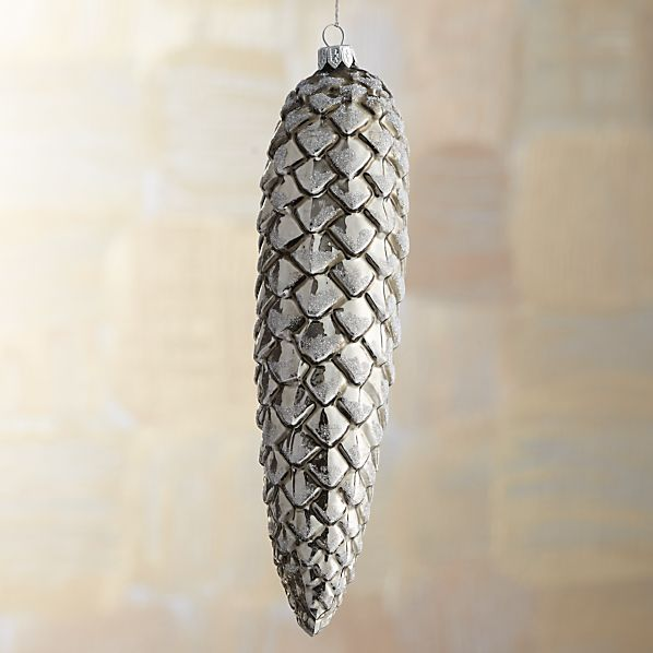 Large Graphite Shiny Glitter Glass Pinecone Ornament