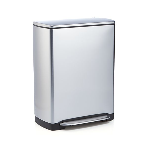 Simplehuman 12 gallon stainless steel rectangular recycle trash can crate and barrel - Rectangular garbage cans ...