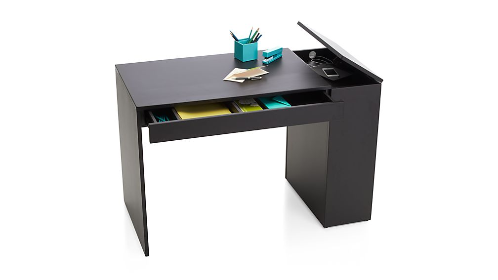 Treble Black Desk In Desks Crate And Barrel