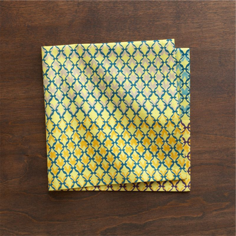 Verdigris trellis casts shadows in graduated colors on lemon yellow in modern, graphic pattern inspired by Indian colonial architecture.<br /><br /><NEWTAG/><ul><li>Cotton</li><li>Machine wash, tumble dry; warm iron as needed</li><li>Made in India</li></ul>