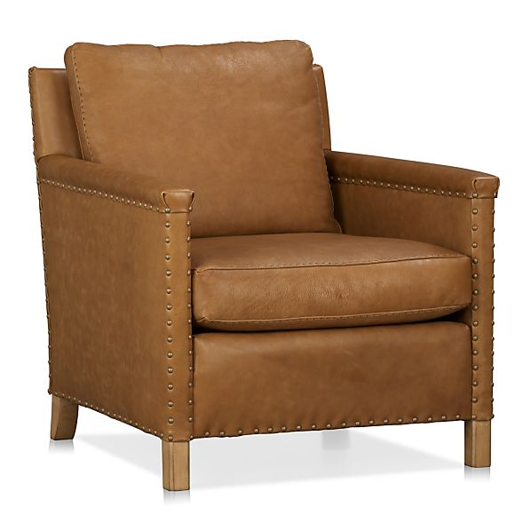 Trevor Leather Chair Camel Crate And Barrel
