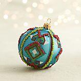 Tribal Bead Blue Ball Ornament