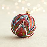 Tribal Bead Red Ball Ornament