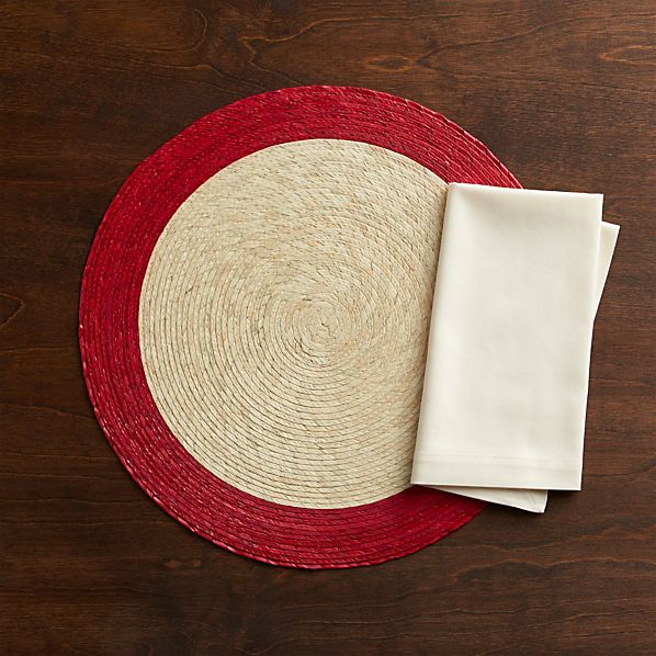 Tropic Palm Red Trim Placemat and Fete Vanilla Cotton Napkin
