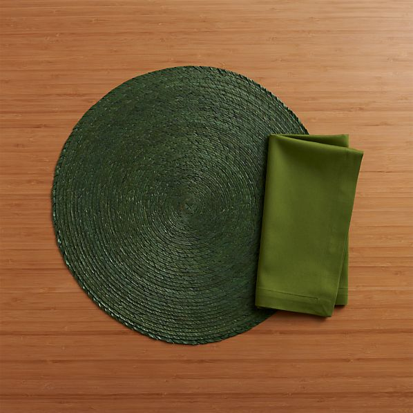 Tropical Palm Pesto Placemat and Fete Pesto Cotton Napkin