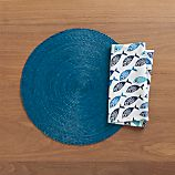 Tropical Palm Blue Placemat and School of Fish Napkin