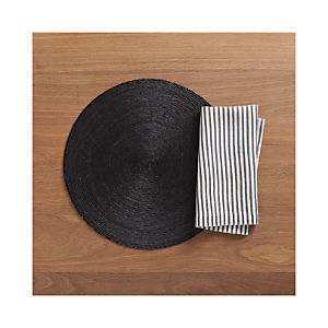 Tropical Palm Black Placemat and Liam Grey Stripe Napkin