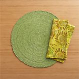 Tropical Palm Celery Placemat and Batik Green Napkin