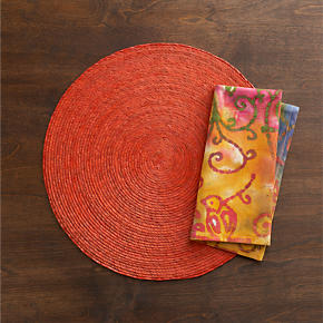 Tropical Palm Picante Placemat and Batik Orange Napkin