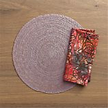 Tropical Palm Slate Placemat and Batik Berry Napkin
