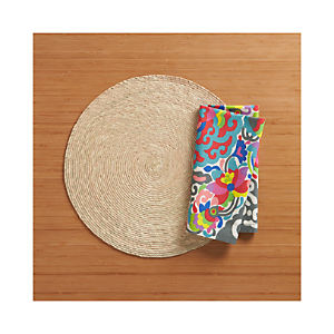 Tropical Palm Natural Placemat and Carnivale Napkin