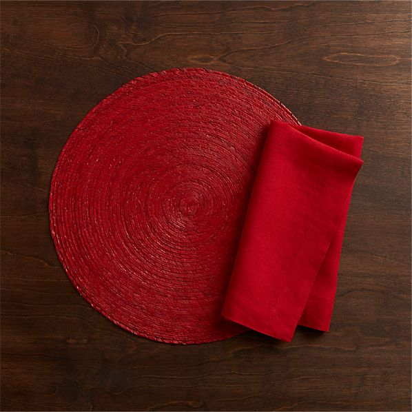 Tropical Palm Red Placemat and Helena Cherry Linen Napkin