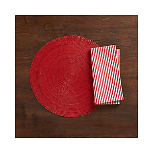 Tropical Palm Red Placemat and Seersucker Red Napkin