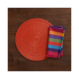 Tropical Palm Spice Placemat and Cantina Stripe Napkin