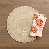 Tropical Palm Natural Placemat and Lisette Napkin