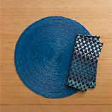 Tropical Palm Blue Placemat and Trellis Blue Napkin