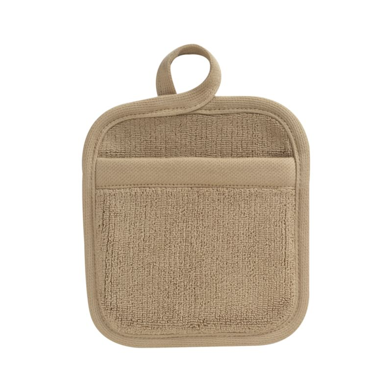 Refined kitchen essential in sophisticated taupe is woven of combed cotton with luxe terry pile. Potholder is finished with convenient hanging loop.<br /><br /><NEWTAG/><ul><li>100% dobby woven cotton</li><li>Reactive dye wash finish</li><li>Machine wash</li><li>Made in India</li></ul>