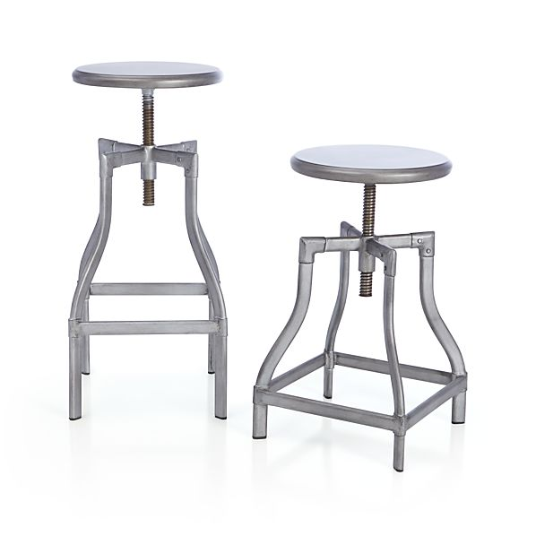Turner Gunmetal Bar Stools And Linen Cushion Crate And