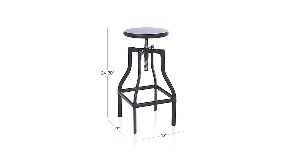 Turner Black Adjustable Backless Bar Stool Dimensions