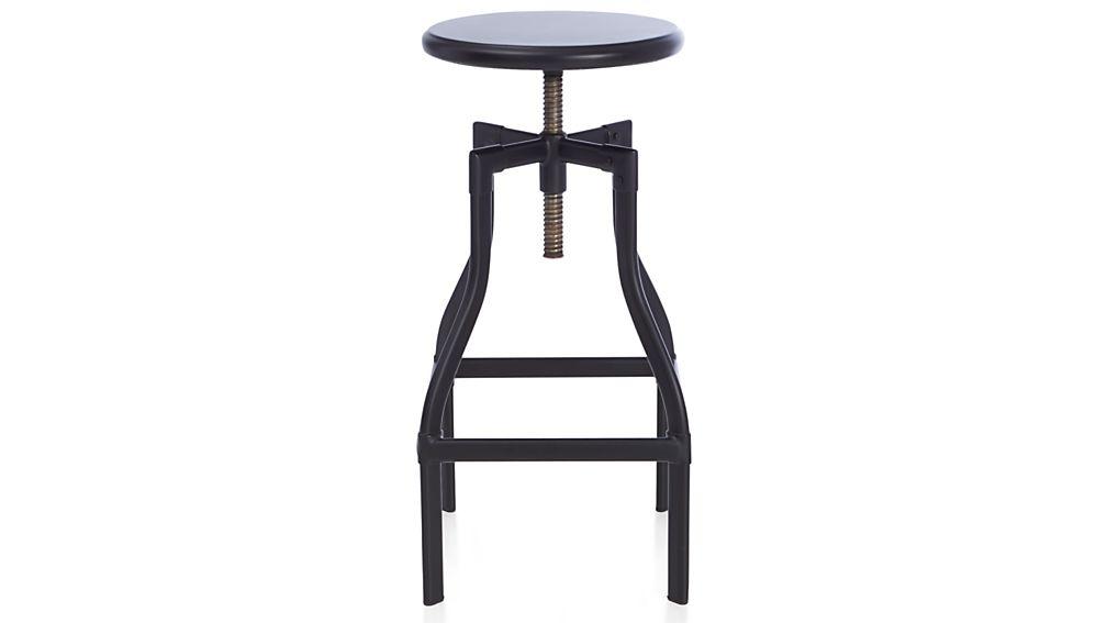 Turner Black Adjustable Backless Bar Stool