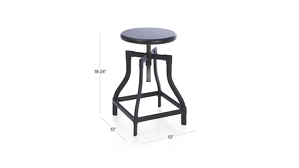 Turner Black Adjustable Backless Counter Stool Dimensions