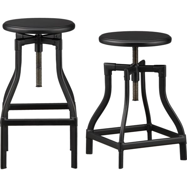 Turner Black Bar Stools And Linen Cushion Crate And Barrel
