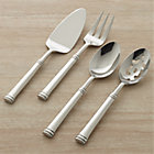 Tuscany 4-Piece Serving Set: pastry server, serving spoon, pierced serving spoon, meat fork.