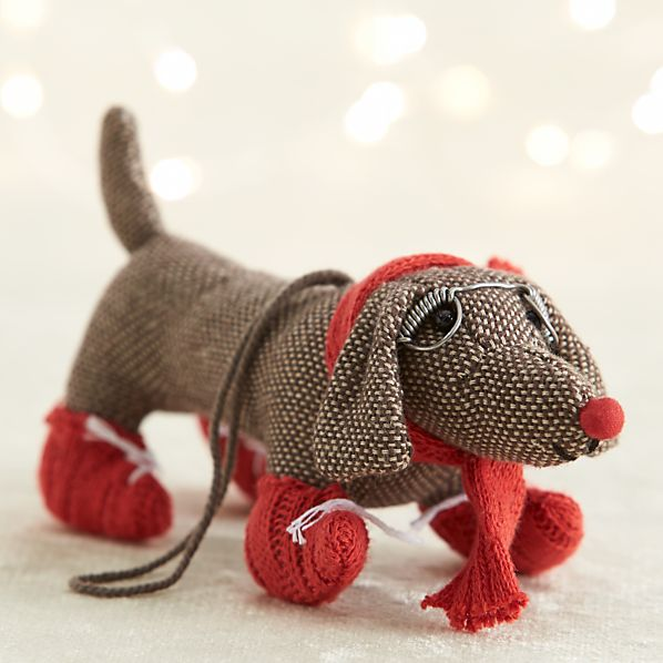 Tweed Dog With Red Scarf and Booties Ornament