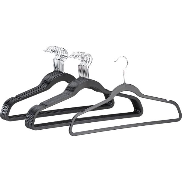 Set of 24 Recycled Black Hangers